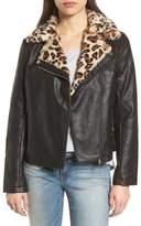 Dorothy Perkins Faux Leather Biker Jacket with Faux Fur Trim