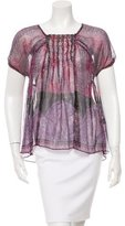 Anna Sui Short Sleeve Metallic-Accented Blouse