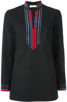Tory Burch high neck shirt - women - Silk/Cotton/Spandex/Elastane/Crystal - 2