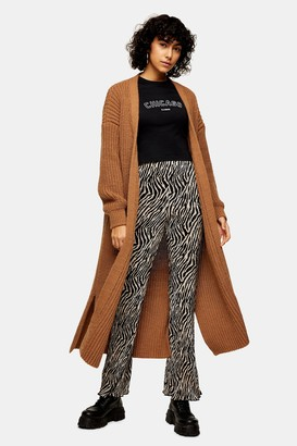 Topshop Womens Camel Maxi Knitted Cardigan - Camel