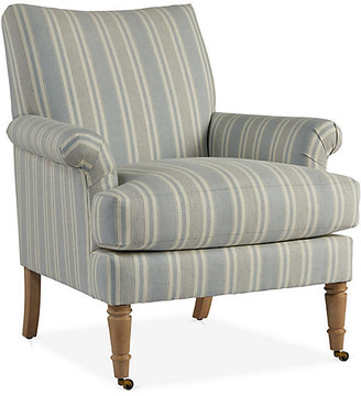 One Kings Lane Avery Accent Chair - Blue/Ivory Linen