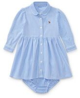 Ralph Lauren Striped Knit Oxford Dress Harbor Island Blue/White 12M