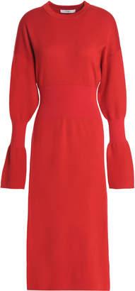 Tibi Fluted Merino Wool Midi Dress