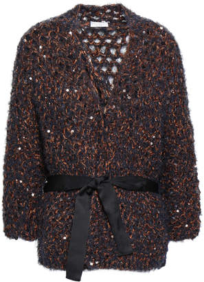 Brunello Cucinelli Sequined Open-knit Cardigan