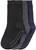 Joe Fresh Toddler Boys' 3 Pack Black Crew Socks, Black (Size 3-5)