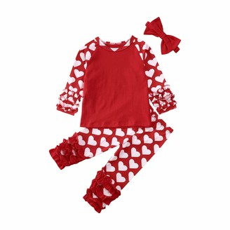 Hailouhai Infant Baby Girl Clothes Long Sleeve Mama s Girl Romper Jumpsuit Ruffle Bodysuit Top+Floral Pants Bowknot Headband 3Pcs Outfits