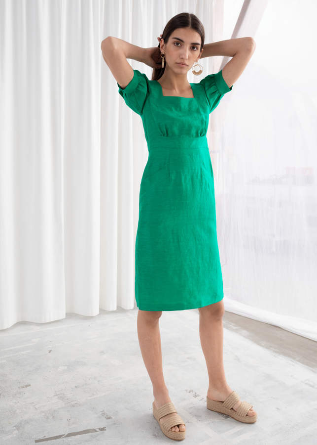 c2f7770ea6 Green Puff Sleeve Dress - ShopStyle