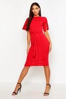 boohoo Jane Split Sleeve Tie Waist Wiggle Midi Dress red