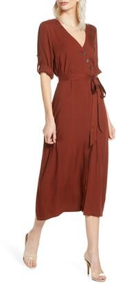 BB Dakota Asymmetrical Button Front Midi Dress
