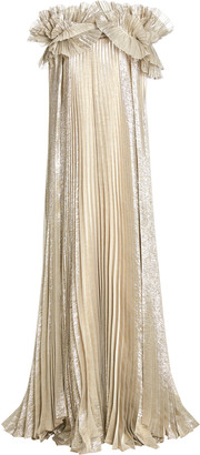 Oscar de la Renta Metallic Pleated Silk-Blend Caftan