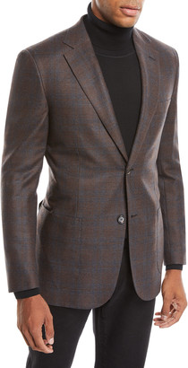 Brioni Men's Plaid Wool-Silk Blazer