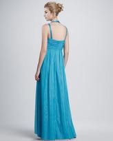 Aidan Mattox Aidan by Ruched Chiffon Halter Gown