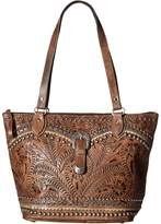 American West Blue Ridge Zip Top Tote Tote Handbags