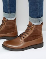 Dune Lace Up Boots Brown Leather