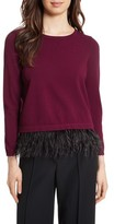 Milly Women's Feather Trim Sweater