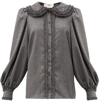 Fendi Ruffled Trim Wool Flannel Shirt - Dark Grey