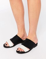Miista Kelly Strap Slide Leather Flat Sandals