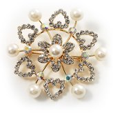 Avalaya Plated Synthetic Pearl Crystal Snowflake Brooch