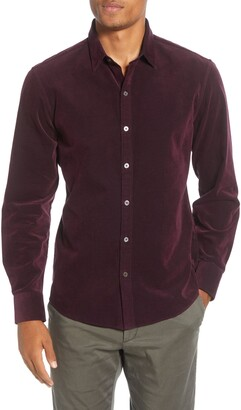 Zachary Prell Akiti Regular Fit Button-Up Corduroy Shirt