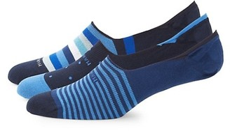 Marcoliani Milano 3-Pack Invisible Touch Striped Anklet Socks