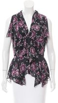 Zac Posen Pleat-Accent Floral Print Top w/ Tags