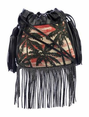 Saint Laurent Palm Tree Helena Fringe Crossbody Bag Black