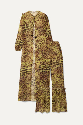 Adriana Degreas Ruffled Leopard-print Silk-chiffon Tunic And Wide-leg Pants Set - Leopard print