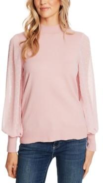 CeCe Cotton Sheer-Sleeve Mock-Neck Top
