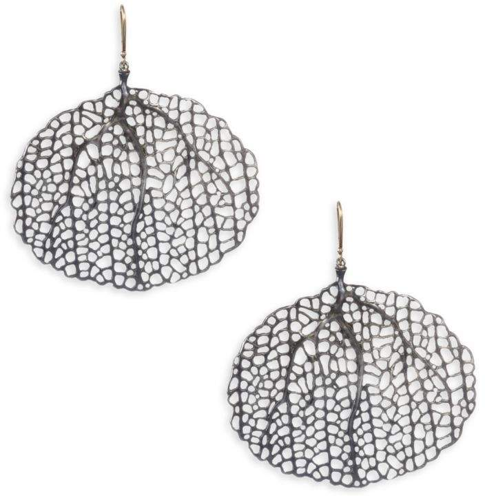 Annette Ferdinandsen Sterling Silver and 14K Yellow Gold Sea Fan Earrings