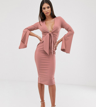 ASOS DESIGN Tall long sleeve plunge tie belt midi dress