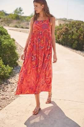 Next Womens Floral Trapeze Cotton Midi Dress - Red