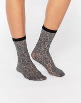 Jonathan Aston Peacock Net Anklet Sock