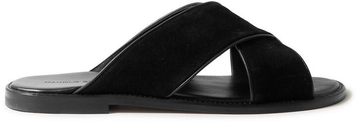 Manolo Blahnik Otawi Leather-Trimmed Suede Sandals