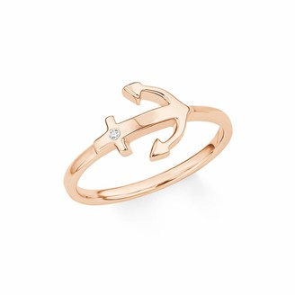 S'Oliver Women's Ring SO PURE Anchor Gold-Plated Silver Zirconia White Size P 1/2015663