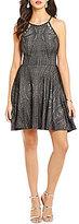 Jodi Kristopher Glitter Knit Skater Dress