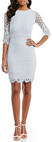 Sangria Illusion 3/4 Sleeve Lace Sheath Dress