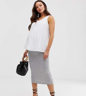 Asos DESIGN Maternity jersey longer length pencil skirt-Gray