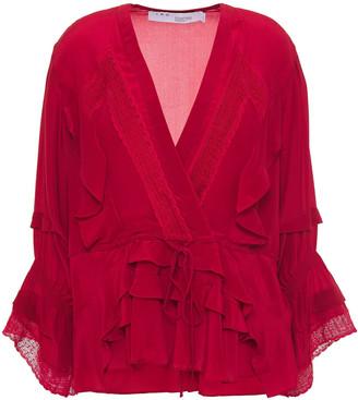 IRO Lace-trimmed Ruffled Silk Crepe De Chine Blouse