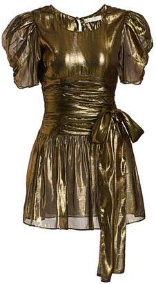 LoveShackFancy Mercy Metallic Puff-Sleeve Tie-Waist Mini A-Line Dress