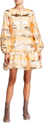 Stine Goya Josefine Metallic Flounce Mini Dress