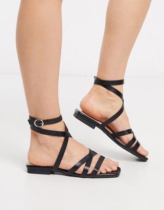 Raid Ezra flat strappy sandals in black