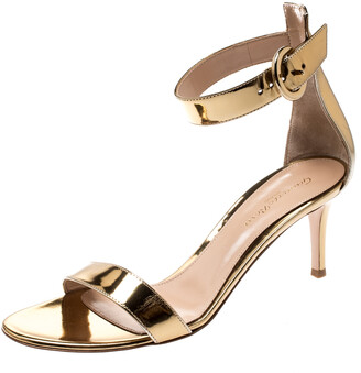 Gianvito Rossi Gold Metallic Leather Portofino Ankle Strap Sandals 38