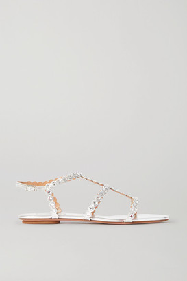 Aquazzura Tequila Crystal-embellished Metallic Leather Sandals - Silver