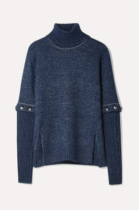 Chloé Convertible Button-detailed Knitted Turtleneck Sweater - Navy