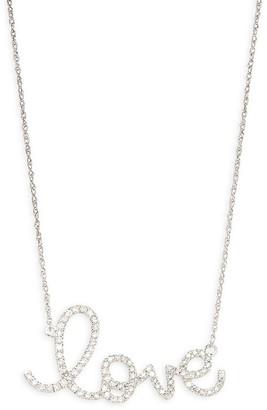 Saks Fifth Avenue 14K White Gold Diamond Love Pendant Necklace