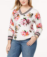 INC International Concepts I.n.c. Plus Size Varsity Sweater, Created for Macy's