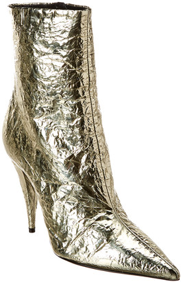 Saint Laurent Kiki 100 Metallic Leather Bootie