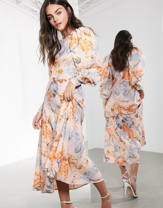 ASOS EDITION midi dress in peach floral palm print