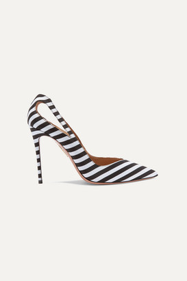 Aquazzura Shiva 105 Cutout Striped Satin Pumps - Black