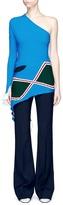 Esteban Cortazar Asymmetric rhombus motif one-shoulder sweater